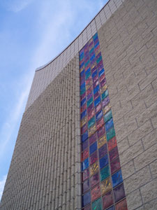 Random glass block colors on inside and outside of church windows